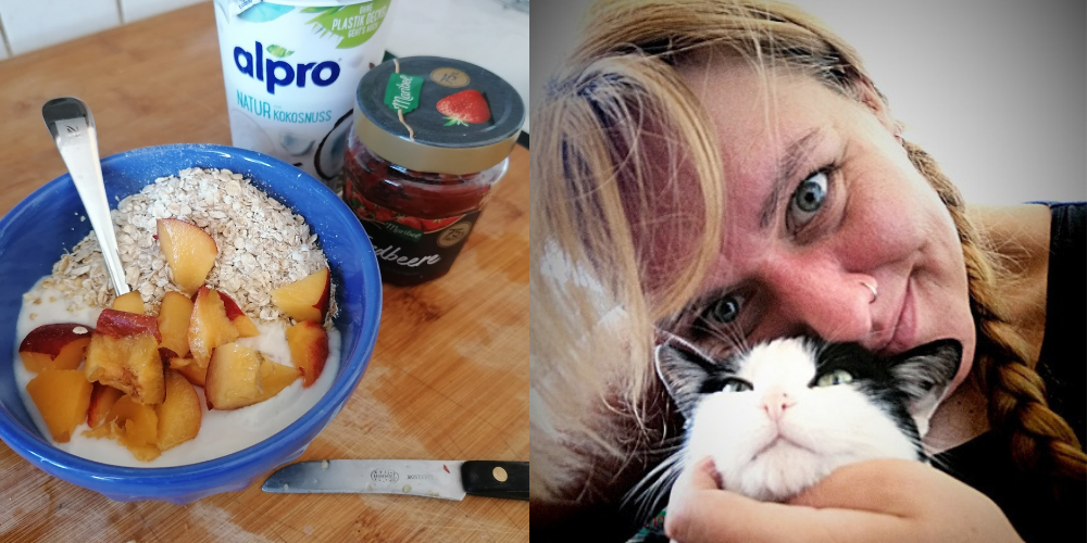 Links zeigt das Bild eine Müslischale mit Haferflocken, Pfirsich und Kokosjoghurt. Rechts ein Selfie von Lorena, wie sie mit einer Katze kuschelt